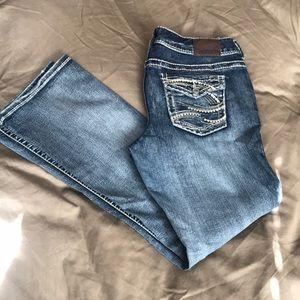 Maurices Heavily Embellished short bootcut jeans